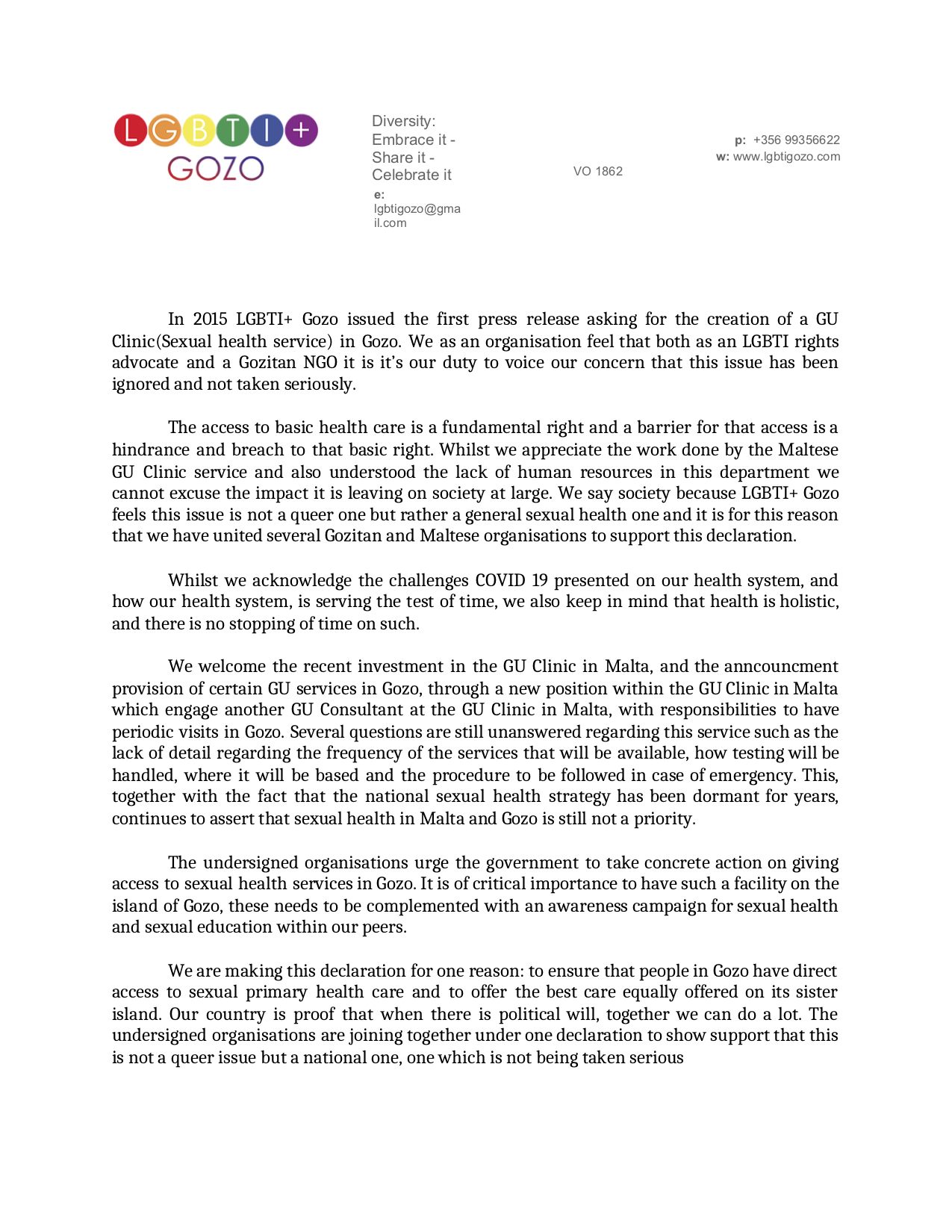 GU Clinic in Gozo statement